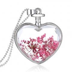 Fancy Dandelion Seeds Dried Flower Glass Bottle Wishing Pendant Necklace Jewelry heart