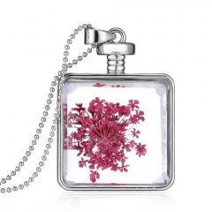 Alloy Dried Flower Necklace Photo Frame Pendant Necklace Jewelry Wholesale Square