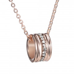 Fashion Boutique Pendant Necklace Rose Gold Plated Alloy Rhinestone Charm Necklace Jewelry Pendant Necklace