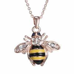 Fashion Silver Rose Gold Crystal Insect Bee Heart Pendant Necklace Love Jewelry Bee