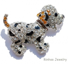 Rinhoo Cute Dog Animal brooches for women gift crystal brooches jewelry rhinestone brooch pins cute black dog silver plated large dog-yellow
