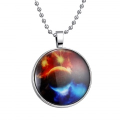 Silver Sublimation Earth Patten Glow in the Dark Pendant Necklace Earth