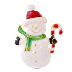 Christmas Snowman Brooch Pin Crystal Santa Claus Xmas Party Gift Xmas snowman crutch