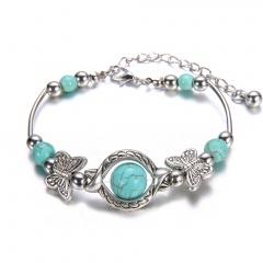 Fashion Round Turquoise Silver Bracelet Adjustable Bracelet for Women Turquoise