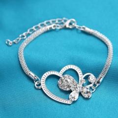 Silver Heart with Rhinestone Bracelet Adjustable Chain Bracelet for Women Heart