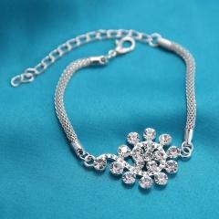 Silver Crystal Stone Flower Chain Bracelet flower