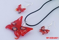 Butterfly Lampwork Necklace With Earring Jewelry Set  Fashion Summer Vacation Jewelry For Women Red
