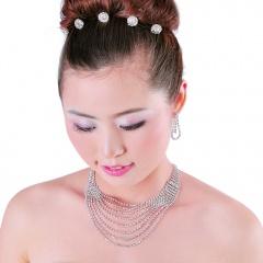 Wholesale Rhinestone Necklace Earring Set Wedding Set #1