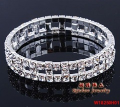Fashion Silver Multi Shape Elastic Rhinestone Bracelet For Women Party Bangle Jewelry Simple