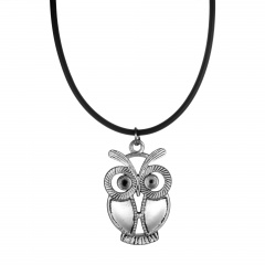 Black Leather with Owl Pendant Necklace Short Charm Necklace for Women Owl