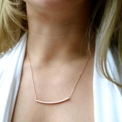 Fashion Simple Celebrity Personalized GOLD Silver Bar necklace Pendant Chain gift Rose Gold