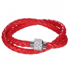 2 Row Colorful Leather Bracelet Fashion Stone Beads Butten Bangle for Women Red