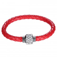 Multicolor leather woven bracelet Korean design jewelry couple fashion simple bracelet personality red