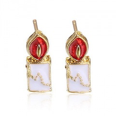 Fashion Christmas Style Colorful Stud Earring Simple Gold Earring Jewelry Wholesale Candle