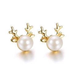 Fashion Christmas Style Colorful Stud Earring Simple Gold Earring Jewelry Wholesale Pearl Elk