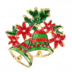 Rinhoo gift snowman Santa Claus wreath Bell Brooches Pins collar Wedding Jewelry new year gift women brooch Christmas bell