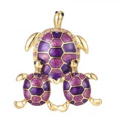 Rinhoo three tortoise Natural animals turtle Brooch women men pins wedding jewelry Gift purple