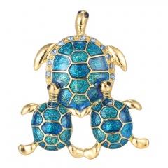 Rinhoo three tortoise Natural animals turtle Brooch women men pins wedding jewelry Gift blue