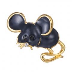 Fashion Cute Women Crystal Animal Mouse Enamel Brooch Pin Jewelry New Year Gift W22951K02