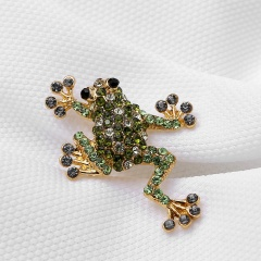 Rinhoo Trendy Rhinestone Animal Frog Brooch Pins Crystal Brooches for Women Costume Jewelry Dress Accessories frog-green