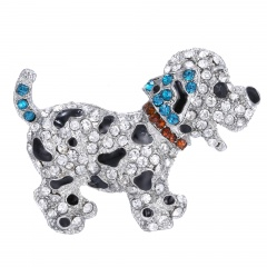Rinhoo Cute Dog Animal brooches for women gift crystal brooches jewelry rhinestone brooch pins cute black dog silver plated large dog-blue