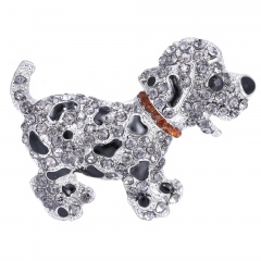 Rinhoo Cute Dog Animal brooches for women gift crystal brooches jewelry rhinestone brooch pins cute black dog silver plated large dog-white