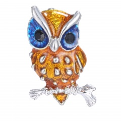 Rinhoo Animal brooch pins mini cute yellow small eagle silver plated rhinestone brooch bule eyes women crystal brooches jewelry owl