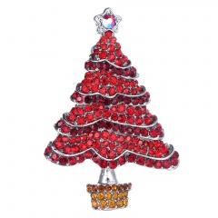 Rinhoo Tree Brooches for Women Rhinestone Fashion Jewelry Festival Brooch Pins Good Gift Winter Coat Cap Brooch Christmas tree-red