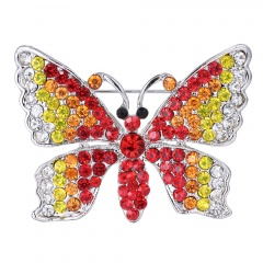 6 Colors Butterfly Shape Alloy with Rhinestone Brooch Women's Jewelry Red