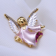 Rinhoo small angel rhinestone Brooch pin crystal wings pink Fairy Brooches women party decoration jewelry Gifts Pink