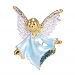 Rinhoo small angel rhinestone Brooch pin crystal wings pink Fairy Brooches women party decoration jewelry Gifts Light blue