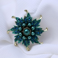 Rinhoo Flower Brooch pins Crystal Brooches For women Clothing Decoration Fashion Beautiful Jewelry Plant Flower Trendy Brooches Blue