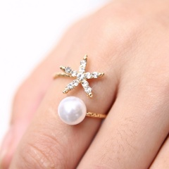 Gold Star with Pearl Open Ring Alloy Fshion Adjustable Rings for Women Star