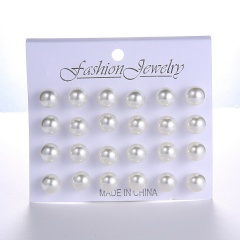 12Pairs/Lot Simple resin ball imitation pearl earrings / 6mm, 8mm, 10mm, 11mm White #2