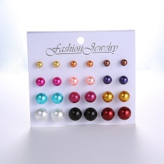 12 Pairs/Card Fashion Pearl Earring Cheap Earring Set Wholesale Multi Color