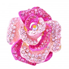 Rinhoo Retro Antique Gold Color Plated Crystal Rhinestones Flower Pins and Brooches for Women Party Bouquet Brooch Pins pink