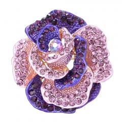 Rinhoo Retro Antique Gold Color Plated Crystal Rhinestones Flower Pins and Brooches for Women Party Bouquet Brooch Pins purple
