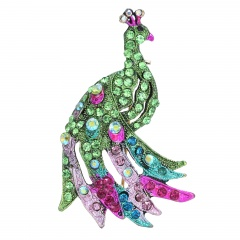 Rinhoo Fashionable Animal Butterfly Elephant Peacock Brooch Silver Animal Trendy Alloy Women Lady Female Wedding party For Women Best Special Gift peacock-green