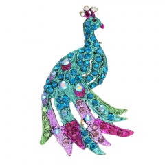 Rinhoo Fashionable Animal Butterfly Elephant Peacock Brooch Silver Animal Trendy Alloy Women Lady Female Wedding party For Women Best Special Gift peacock-blue