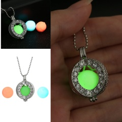 Charm Glow In The Dark Heart Pendant Necklace Luminous Women Jewelry Party Gift Crystal Round
