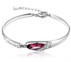 Wholesale Elegant Silver Plated Women's Crystal Bangle Fashion Bracelet with Chain Purple