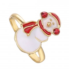 Christmas Style Cute Rings Alloy Adjustable Rings Wholesale Small Snowman