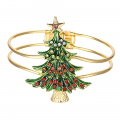 Christmas Tree Gold Open Bangle Fashion Festival Jewelry Wholesale Christmas Tree