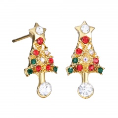 Small Christmas Style Stud Earring Jewelry Cute Earring for Girl Christmas Tree