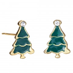 Small Christmas Style Stud Earring Jewelry Cute Earring for Girl Tree