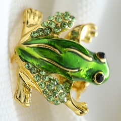 Rinhoo Rhinestone Pins Brooches Animal Brooches For Women Small Fashion Jewelry Lovely Crystal Frog Brooches frog-green
