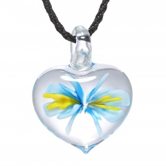 Charm Murano Lampwork Glass Heart Flower Heart Pattern Pendant Necklace Jewelry Blue