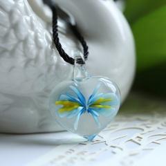 Fashion Lampwork Murano Glass Heart Flower Necklace Pendant Starfish Jewelry Hot Sky blue