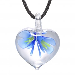Fashion Lampwork Murano Glass Heart Flower Necklace Pendant Starfish Jewelry Hot Blue