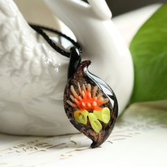 Fashion Irregular Lampwork Murano Glass Heart Flower Necklace Pendant Jewelry Hot Orange &Yellow